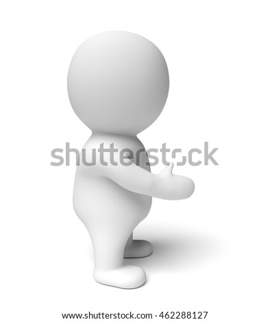 human white 3d person presenting to the right (3D illustration isolated on a white background)