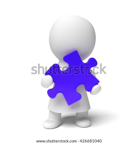 human white 3d person wearing a gown holding a blue puzzle piece (3D illustration isolated on a white background)