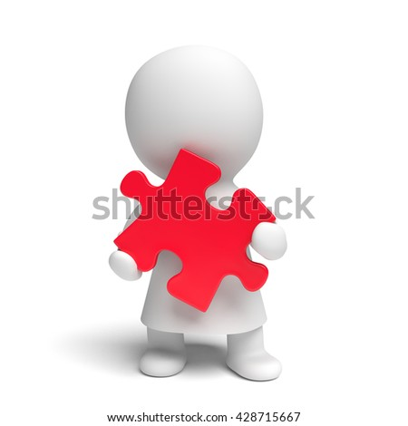 human white 3d person wearing a gown holding a red puzzle piece (3D illustration isolated on a white background)