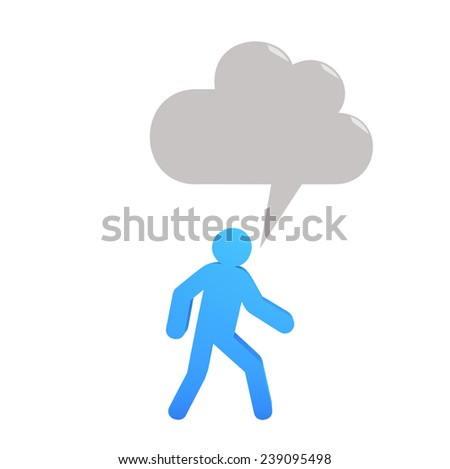 Human with blank speech bubbles - stock photo