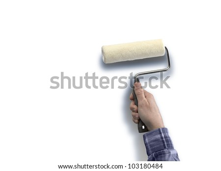 human with roller paint sky - stock photo