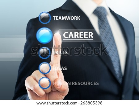 Human. Young business man choosing the career button from a list - stock photo