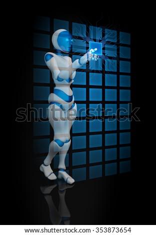 Humanoid female robot using a futuristic interface - stock photo