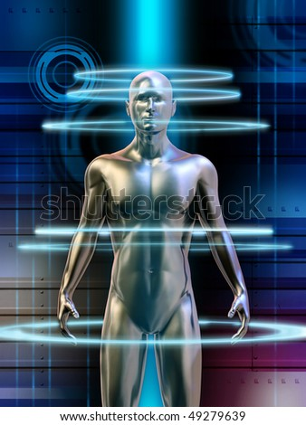 Humanoid robot with glowing energy circles around its body. Digital illustration.