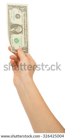 Humans hand holding money on isolated white background