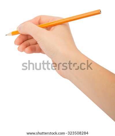 Humans hand holding pencil on isolated white background - stock photo