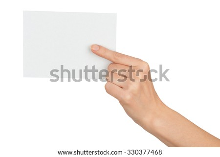 Humans hand pointing at blank paper on isolated white background