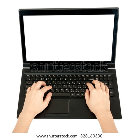 Humans hand working on laptop on isolated white background, top view