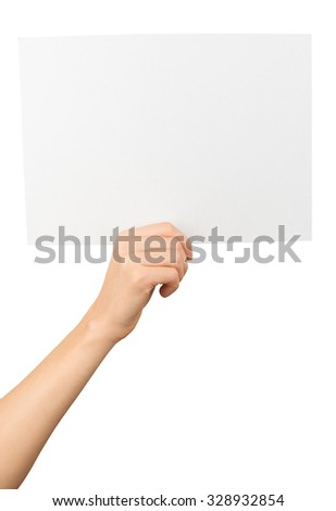 Humans right hand holding big white card on isolated white background