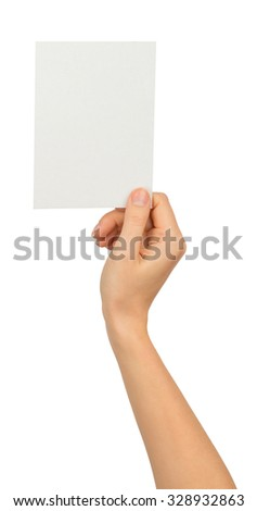 Humans right hand holding small blank paper on isolated white background