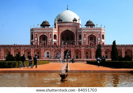 Humayun's Tomb, Delhi, India. It is the tomb of second Mughal Emperor Humayun. The tomb was commissioned by his wife Hamida Banu Begum in 1562 and designed by Mirak Mirza Ghiyath, a Persian architect. - stock photo