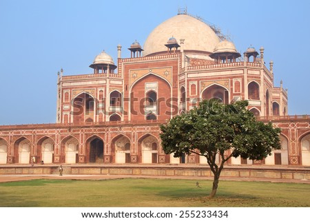 Humayun's Tomb, Delhi, India. It was the first garden-tomb on the Indian subcontinent. - stock photo