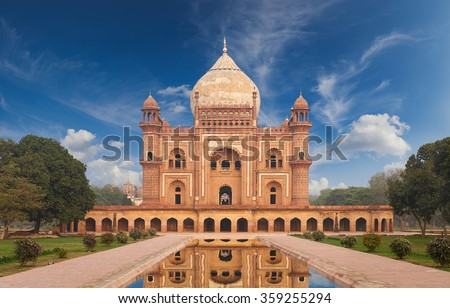 Humayun Tomb,New Delhi The last refuge of Mughal Emperor Humayun reminds rather of a luxurious palace, than a tomb. Humayuns Tomb is one of the most popular tourist destination in India. - stock photo