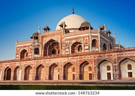 Humayuns Tomb on blue sky, New Delhi, India - stock photo