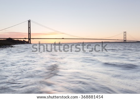 Humber Bridge at sunrise (Hull, UK)