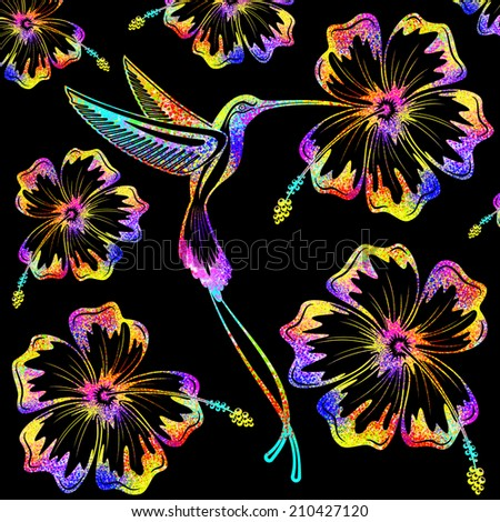 Hummingbird and Hibiscus Psychedelic Tattoo Pattern  - stock photo