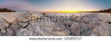 Hummocks on the shore of the Baltic Sea. Winter landscape. Panorama