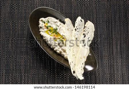 Hummus and Chips - stock photo