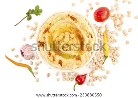 Hummus with mint and the fresh vegetables isolated - stock photo