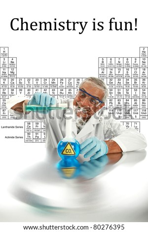Humor, Chemistry, Science, Medical, Global Warming - a chemist or scientist  works on a cure to end GLOBAL WARMING and save mankind from CO2 poisoning,  isolated on white with room for your text. . - stock photo