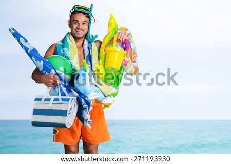 Humor, Tourist, Beach. - stock photo