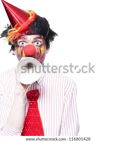 Humorous Birthday Clown Making Invitation To Guests Through Party Hat Over White Background - stock photo