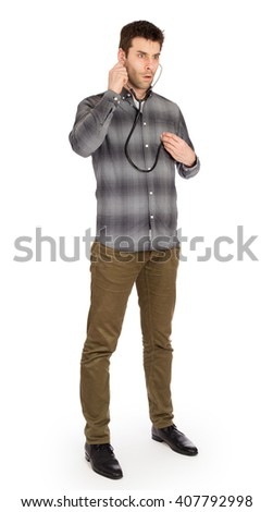 Humorous concept of health - Mad doctor with a stethoscope isolated - stock photo