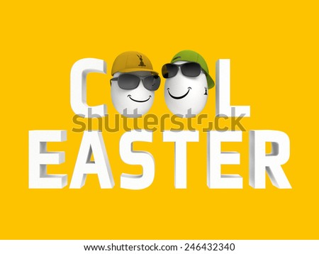 humorous cool easter image with two white eggs  - stock photo