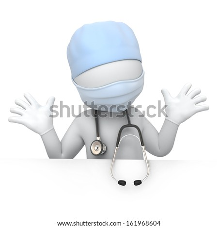 humorous doctor. image with a work path - stock photo