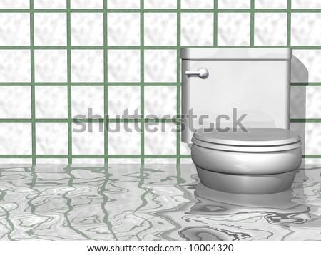 Humorous Flooded Bathroom Scene Stock Illustration - Flooded bathroom