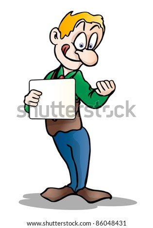 Humorous illustration of an amazed man holding blank board on white background