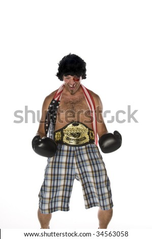 Humorous image of a man as a boxer - stock photo