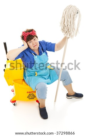 Humorous image of a tired maid going crazy.  Full body isolated on white. - stock photo