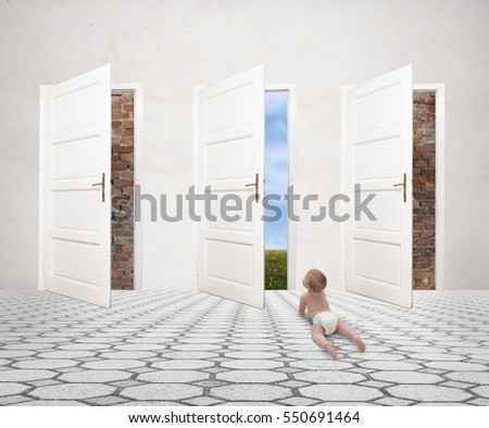 humorous picture of a little baby and open door