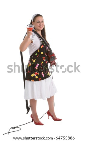Humorous picture of housewife archetype.  A parody. - stock photo
