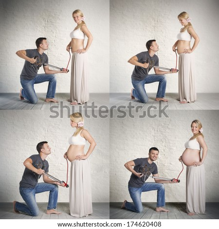 Humorous pregnancy stages collage of young caucasian woman and her husband, holding a pump in hands and creating impact that the abdomen is inflated. - stock photo