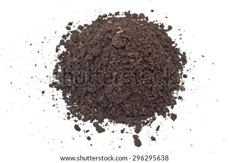 Humus soil pile isolated on white - stock photo