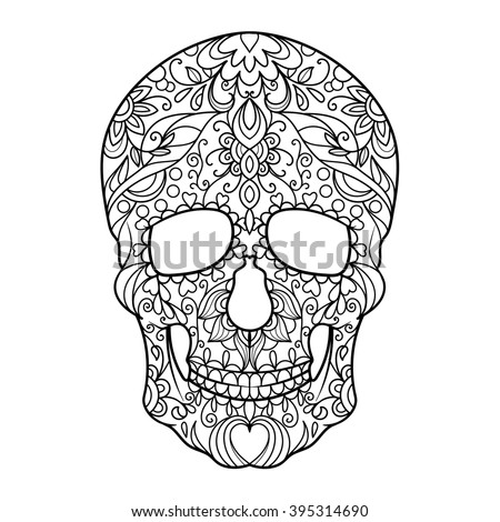hunan skull coloring book for adults raster illustration anti stress coloring for adult