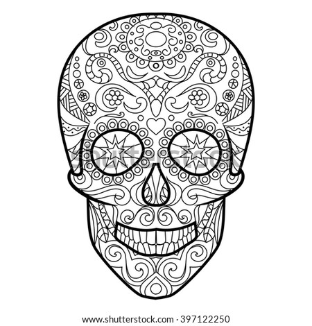 Hunan Skull Coloring Book Adults Raster Stock Illustration 397122250 ...