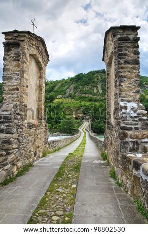 Hunchback Bridge. Bobbio. Emilia-Romagna. Italy. - stock photo