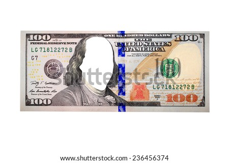 hundred dollar bank note without president's face isolated on the white background - stock photo