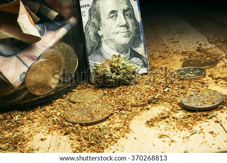 hundred dollar bill and marijuana, marijuana business