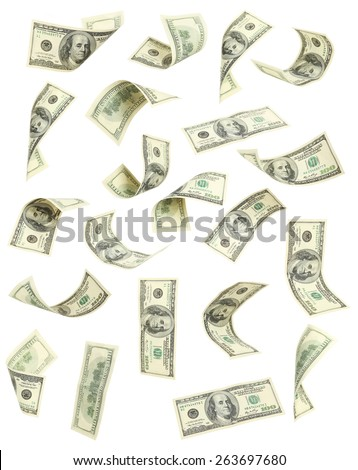 Hundred dollar bill falling on white background - stock photo