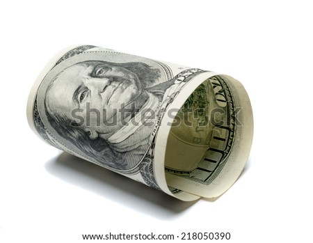 Hundred dollar bill isolated white - stock photo