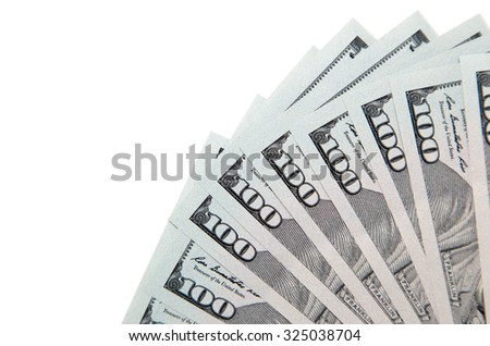 hundred dollar bill on a white background - stock photo
