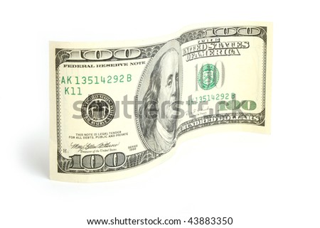 Hundred dollar bill on white background