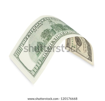 Hundred dollar bill on white, soft drop shadow