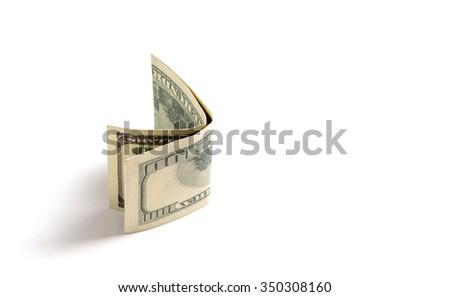 Hundred dollar bill on white, soft drop shadow - stock photo