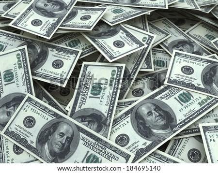 hundred dollar bill stacks (depth of field) - stock photo