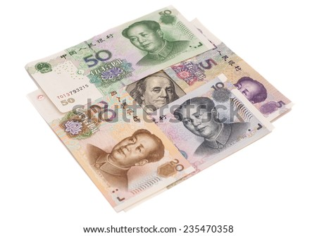 Hundred dollar bill surrounded by Chinese Yuan isolated on white - stock photo